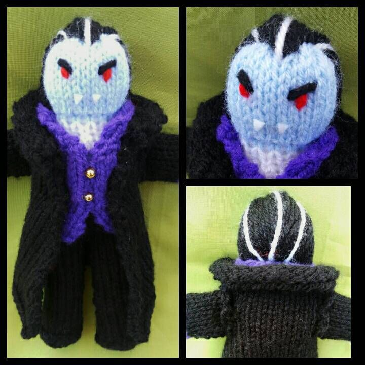 KNIT your own Dracula/VAMPIRE toy/doll/figure kit. Simple easy knitting pattern. Makes a great gift for BIRTHDAYS Halloween or Christmas. by KwerkyKnits on Etsy