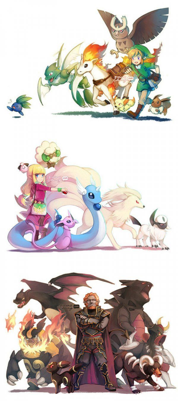 The Legend of Zelda and the Pokemon they would have on their teams. Of course Gannon gets the shinny pokemon...
