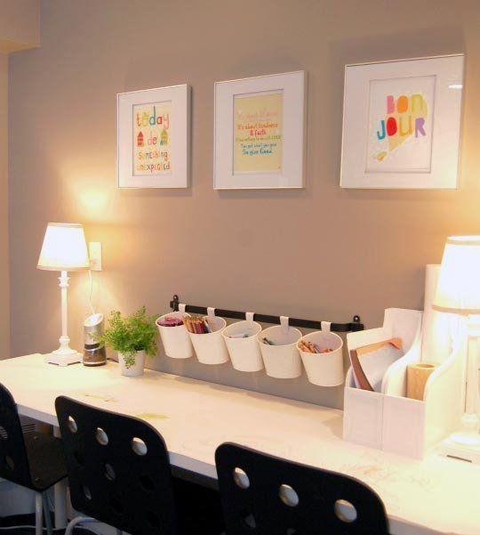 Organizing kids homework space | Organized art table, homework station for kids