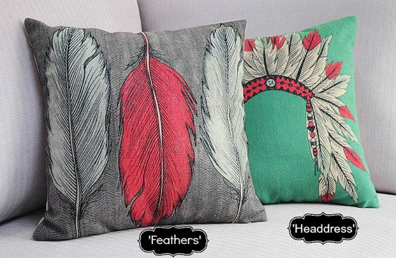 Nordic Indian Feathers Pillow Cover Boho Indie Scandanavian Throw Pillow Cushion Cover Linen Native American