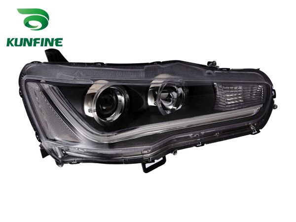 Pair Of Car Headlight Assembly For MITSUBISHI LANCER 2010- Tuning Headlight Lamp Parts Daytime Running Light Angel eyes Bi Xenon