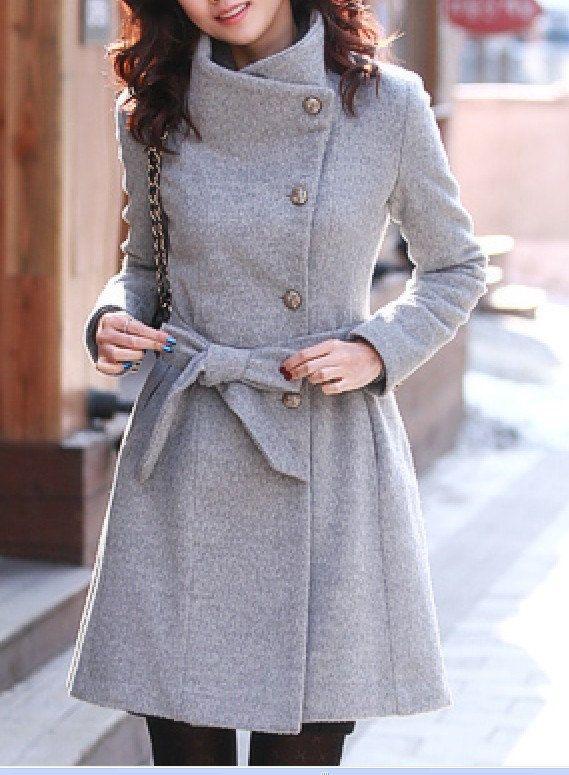 Chaqueta de lana gris mujer chaqueta de abrigo de por fashiondress6