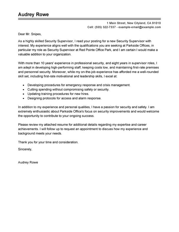 best security supervisor cover letter examples livecareer retail - livecareer my perfect resume