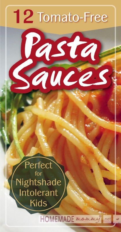 12 Tomato-Free Pasta Sauces | www.homemademommy.net #recipe #allergyfree #kidfriendly.  VIEW WITH CAUTION - MANY OF THESE SAUCES ARE MADE WITH HIGHISH POTASSIUM INGREDIENTS - CURLEYTOP1.