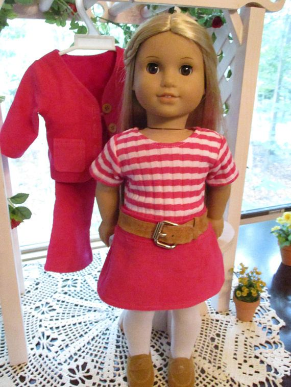 Your 1970s doll will have an assortment of looks for school and after school fun in bright (groovy!) pink and white in this 5-piece set! Outfit includes: * Bright pink, soft brushed corduroy jacket with front pockets, 3 button front closure, and matching cotton lining in the front and