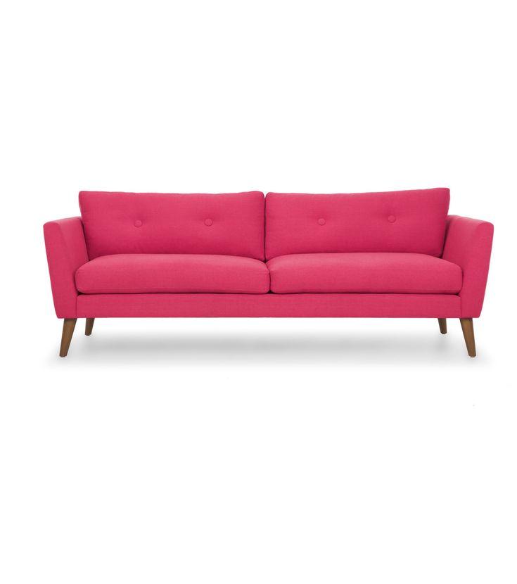 """<div>Этот ярко-розовый диван буквально создан для смелого жилища в духе поп-арт. Но будет гармонично смотреться в более спокойном интерьере в скандинавском стиле. И не важно, украшены у Вас стены граффити или полотнами с финскими соснами, эта мебельная """"изюминка"""" сразу привлечет к себе внимание. Удобное сиденье с подушками, скромная точечная стяжка на спинке, ножки из натуральной древесины и, конечно, аккуратные формы """"как в 60-х"""". Обивочная материя весьма практична, чехлы на подушках…"""
