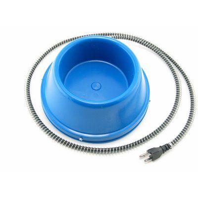 BOL CHAUFFANT - 1 litre en plastique - Ce bol de 1 litre est chauffé par un élément thermostatique de 50 watts qui empêche la formation de glace.  Une gaine protectrice empêche les animaux de mordiller le cordon d'alimentation. L'élément chauffant est contenu dans une boîte à l'épreuve de l'eau. Convient pour chiens, chats et autres animaux de petite à moyenne grosseur.
