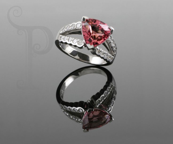 Handmade 18ct White gold Fancy Dress ring, Set With trillion Cut Pink Tourmaline and Round Brilliant Cut Diamonds