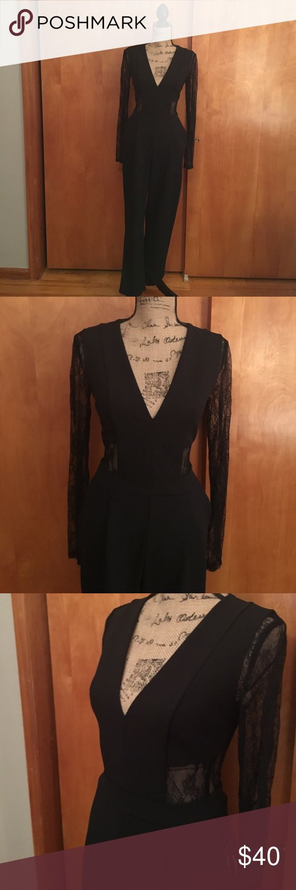 Long sleeve black jumpsuit from Express Long lace sleeved jumpsuit, deep V in front, open lace detail on back. Zips in the back, has pockets and slight pleat in front. Never worn NWT. Bundle discount buy 2 items or more get 30% off! Express Pants Jumpsuits & Rompers