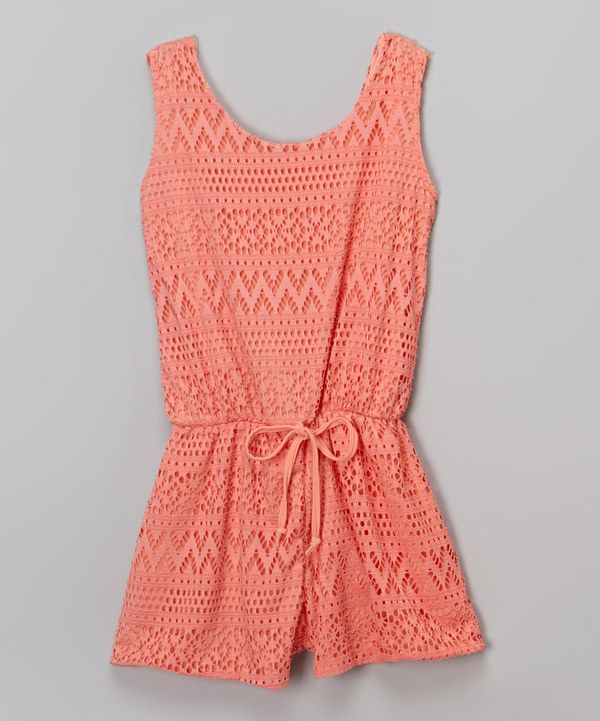 Look at this Cheryl's Kids Creations Coral Lace Romper on #zulily today!