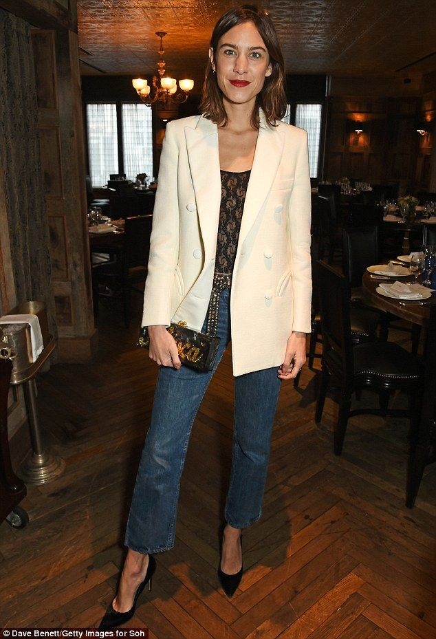 Smart and sassy: Alexa, 33, opted for a smart-casual look, with the Hampshire-born beauty teaming a cream double-breasted blazer with bootcut jeans