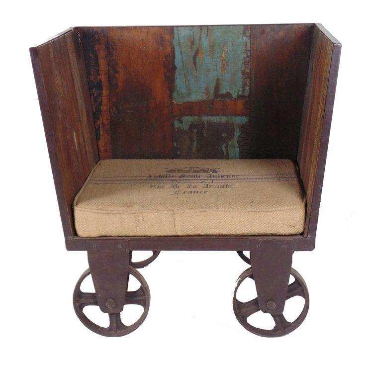 MOTI Furniture Iron Trolley Settee with Cushion