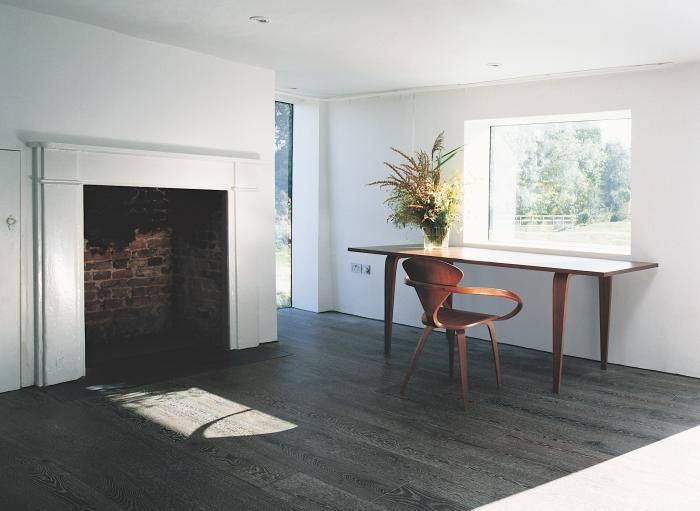 ACME-Hunset-Mill-Norfolk-dark-oak-floorWood Chairs, Oak Floors, Bright Room, Offices Spaces, Wood Design, Dark Wood Floors, Tall Fireplaces, Contemporary Design, Home Offices