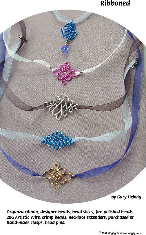Pg 2 Ribboned Beads and Wire Necklace Jewelry Making Project made with WigJig jewelry tools and jewelry supplies.