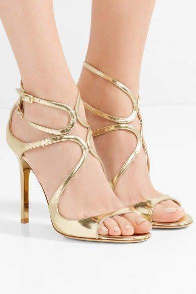 263ebc4acd9 Jimmy Choo - Lang 100 Metallic Leather Sandals - Gold  JimmyChoo ...