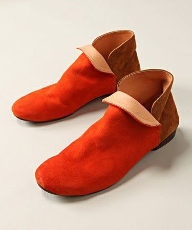 Orange and Brown Suede Shoes