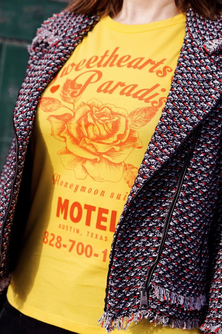 Short Tweed Jacket and T-Shirt In Slim Fit With Flocked Honeymoon Motel Print