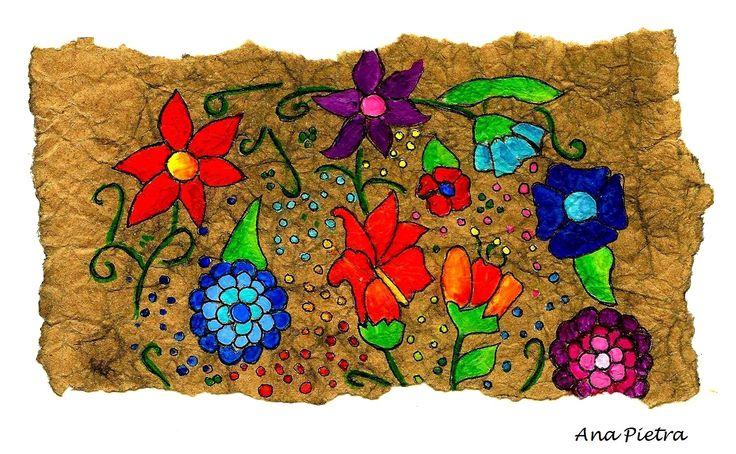 Arte Otomi (Mex.) Trabajo inspirado en el arte de pueblos prehispánicos en Mesoamerica. Eran realizados sobre papel amate (fibra vegetal machacada y prensada) , sus dibujos , de gran colorido y sus motivos , primitivos, describian seres de la naturaleza y escenas locales.