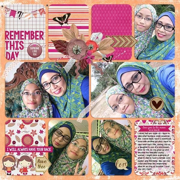 Layout by CTM Siti using {Heart My Sister} Digital Scrapbook Collection by Pixelily Designs available at Gingerscraps http://store.gingerscraps.net/Pixelily-Designs/ #digiscrap #digitalscrapbooking #pixelilydesigns #heartmysister