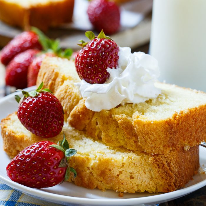 Sweetened Condensed Milk Pound Cake has just the right amount of sweetness and goes wonderfully with fresh berries.