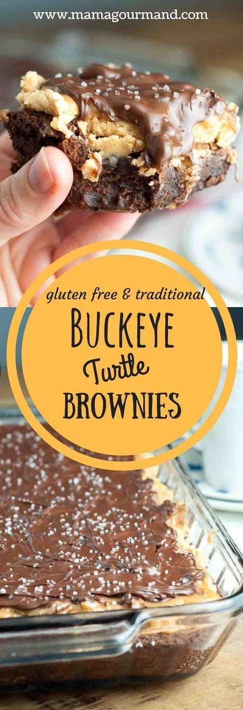 Buckeye Turtle Brownies recipe are layered with fudgy brownies, creamy peanut butter topping, sweet salty caramel pecans, and drizzled with salted chocolate. http://www.mamagourmand.com