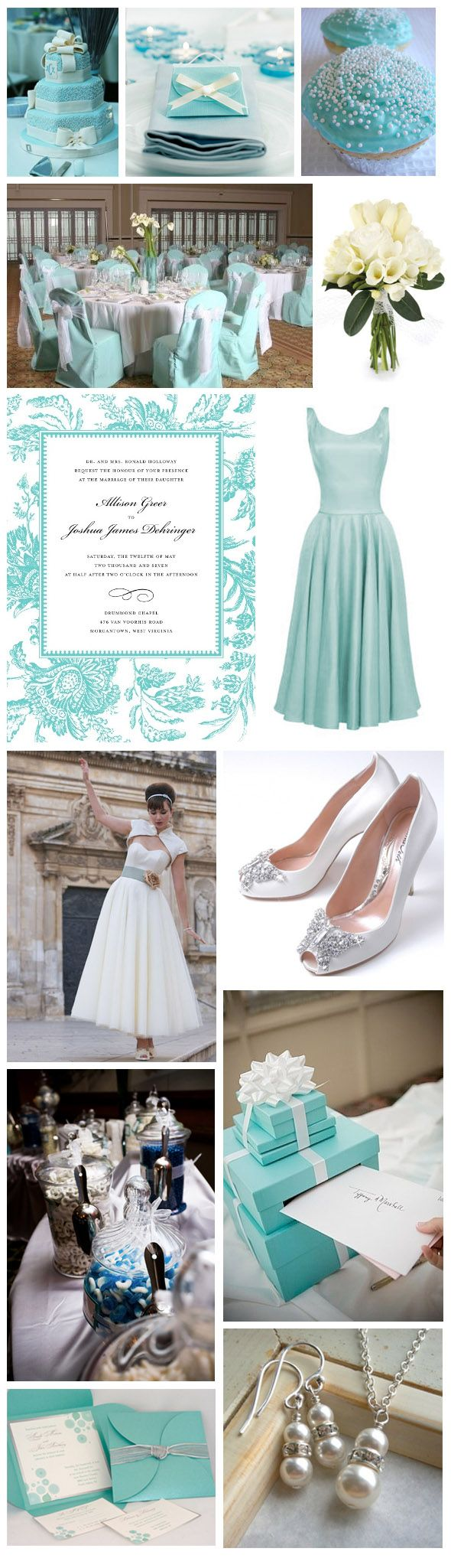 bridesmaid tiffany blue dresses | Wedding Theme Inspiration: Tiffany Blues, Silvers & White