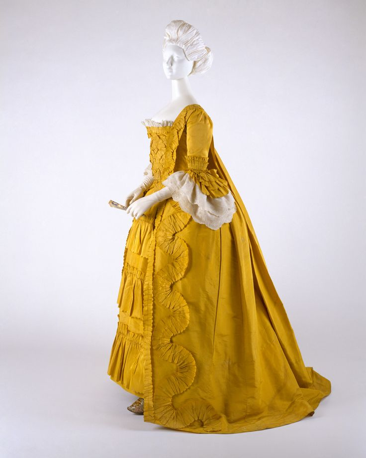 Dress Date: ca. 1760 Culture: British Medium: silk, linen, cotton Dimensions: a) L. at center back: 57 in. (144.6 cm). b) L. at center back: 34 in. (86.3 cm). c) L. at center back: 11 7/8 (30.3 cm). Credit Line: Purchase, Arlene Cooper Fund and Polaire Weissman Bequest Fund, 1996 Accession Number: 1996.374a–c