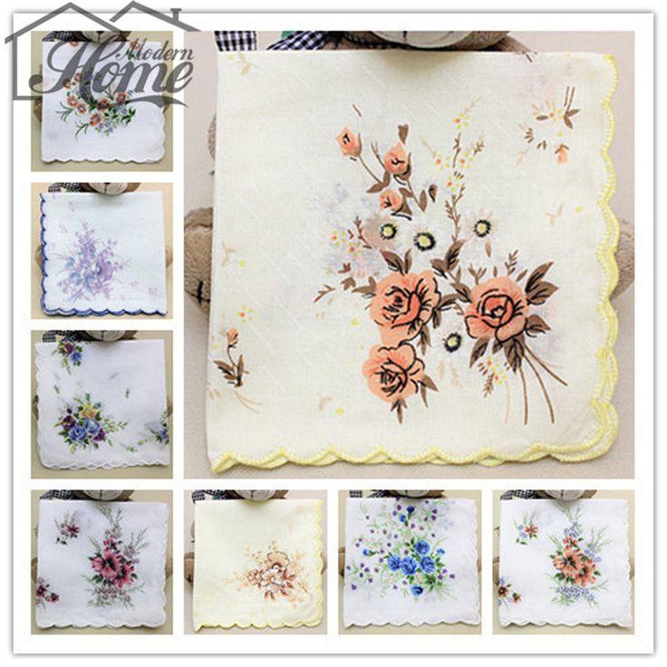 Ladies Handkerchiefs Flower Hankies 20pcs 30pcs 30cm*30cm Vintage Cotton Pocket Square Hanky Wedding Decoration Random Color