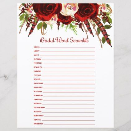 Boho Red Roses Bridal Word Scramble Find Someone Rustic Wedding Marriage Love Cyo