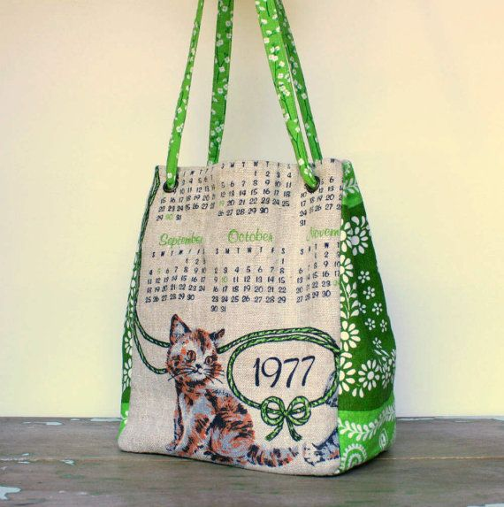Small Tote Upcycled Vintage Tea Towels by GingerthreadStudio, $31.00
