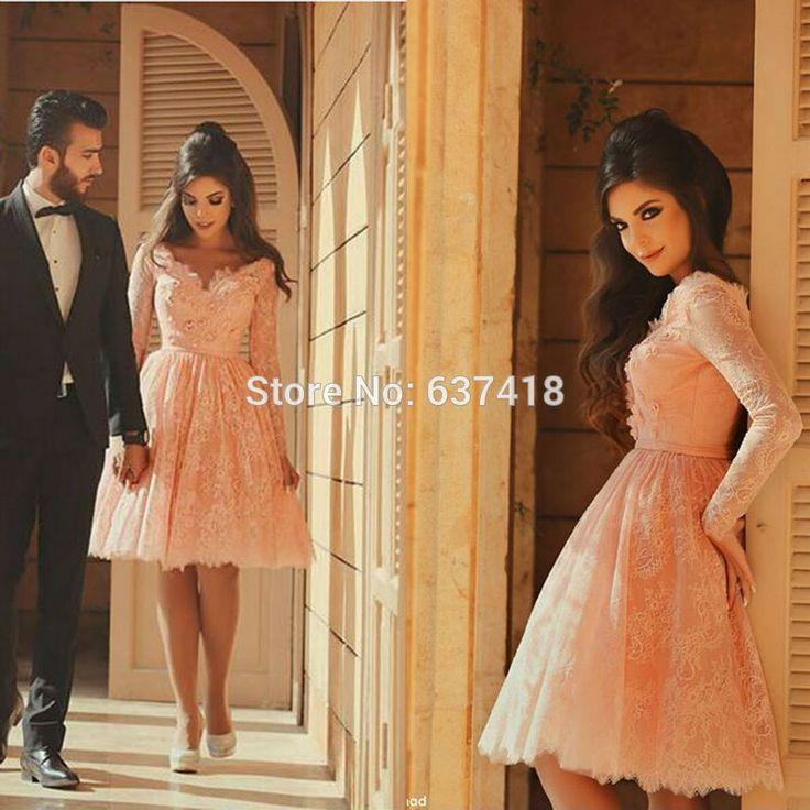Персик кружева короткие платья выпускного вечера с длинными рукавами до колен ну вечеринку коктейль платье свадебные платья бейл Curtos купить на AliExpress