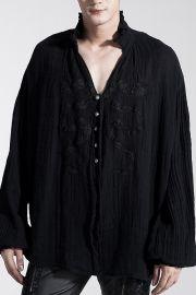 Mittelalterliches Hemd mit Stehkragen & black Dragon Print