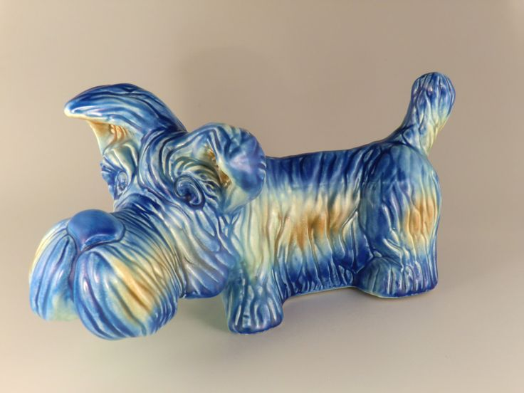 Bohemian Czech Ditmar Urbach Art Deco Pottery Dog Terrier by VintageRetroEu on Etsy