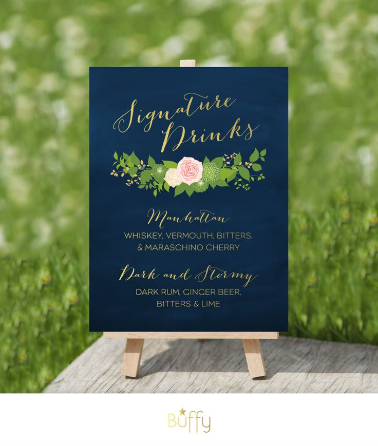 $25 on ETSY | The JULIE . Alcohol Wedding Bar Sign . Custom Signature drinks Cocktails . Calligraphy & Gold Blush Rose Dahlias Peonies  PDF by BuffyWeddings on Etsy