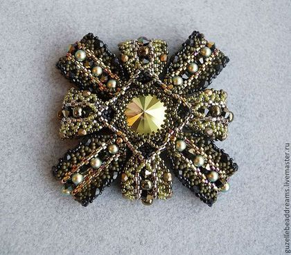 Military брошь - хаки,оливковый,черный,милитари,орден,кристаллы сваровски (swarovski)