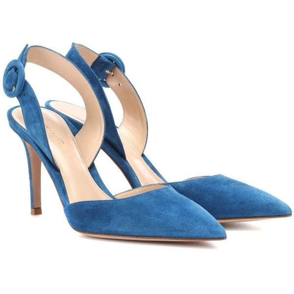 Gianvito Rossi Suede Slingback Pumps ($820) ❤ liked on Polyvore featuring shoes, pumps, blue, gianvito rossi pumps, blue suede pumps, gianvito rossi, slingback shoes and sling back pumps