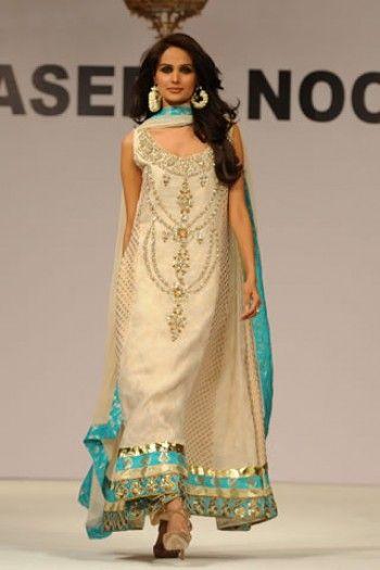 pakistani dresses online in usa   Golden Chiffon Anarkali Dress