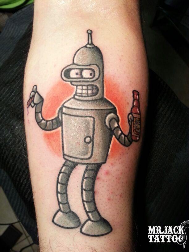 #bender #futurama #tatuaggi #tattoo #mrjack #mrjacktattoo #color #arte #artist #colortattoo #bodyart #mrjacktattoofamily #cartoon #tattoocartoon