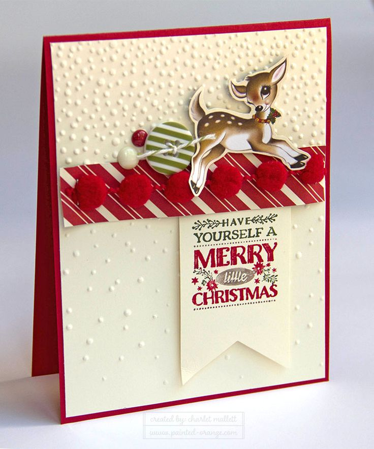 Home for Christmas Deer card using the Cozy Christmas Stamp Set from the Stampin' Up! 2015 Holiday mini catalog. Painted Orange