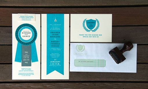 blue ribbon wedding invite, extremely well designed. by Tom Froese