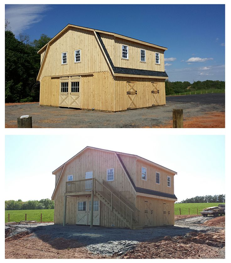 34x24 modular high profile horse barn includes gambrel for Gambrel barn plans with living quarters