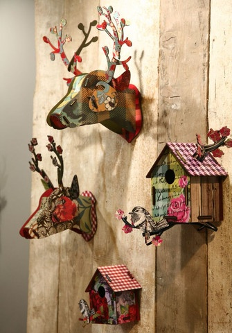Just love these fabulous deer heads and birdhouses