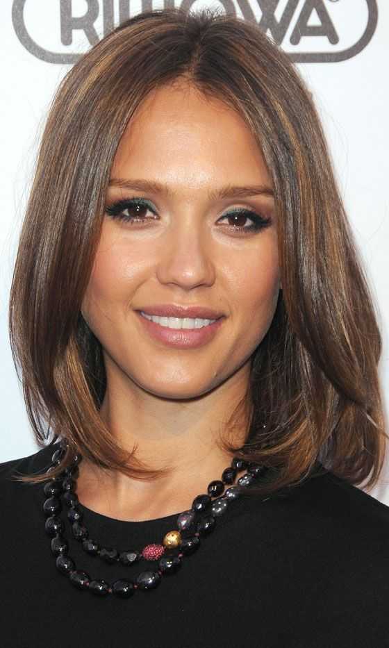 Jessica Albas Glam Long Bob Hairstyle, 2011.....like the color for winter