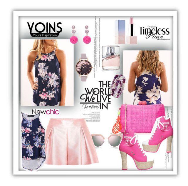 """Yoins floral cami top"" by pesanjsp ❤ liked on Polyvore featuring Fendi, Honora, Olivia Burton, HUGO, Sephora Collection, Serpui, Moschino, Latelita, RED Valentino and yoins"