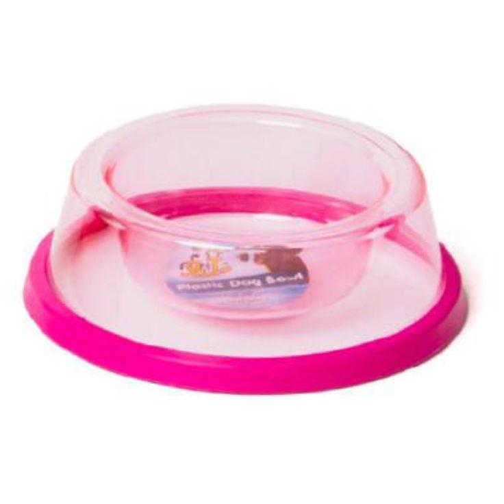 Comedero plástico transparente, con goma antideslizante 18,5 cm. El comedero de plástico transparente es de primera calidad, con goma antideslizante y en cuatro colores llamativos: naranja, rosa, verde y azul.