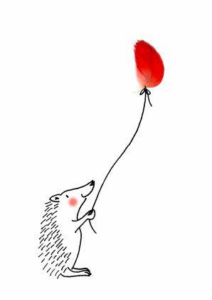 Egeltje-egel, verkrijgbaar bij #kaartje2go voor €1,89 Hedgehog with feather