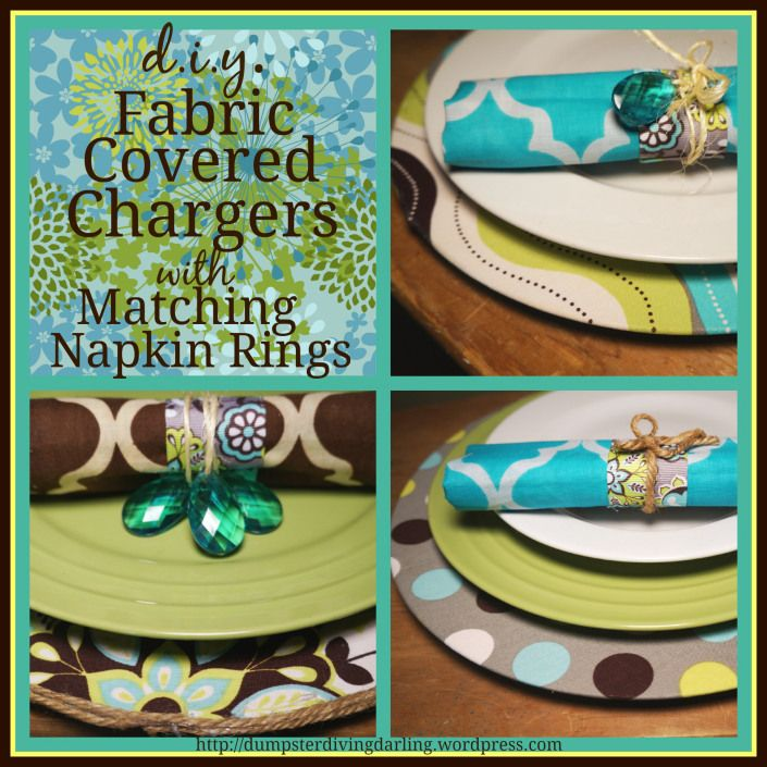 Dining Room Decor ~ How to cover plain chargers with your favorite fabric. Directions on the blog. Part 2 will explain how to make matching napkin rings.