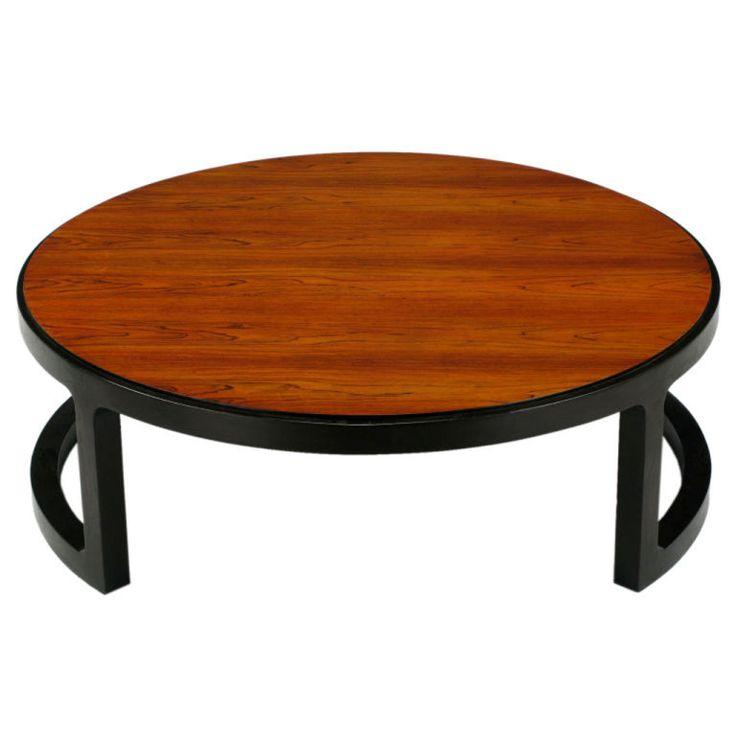 1stdibs.com | Edward Wormley Round Rosewood U0026 Mahogany Coffee Table