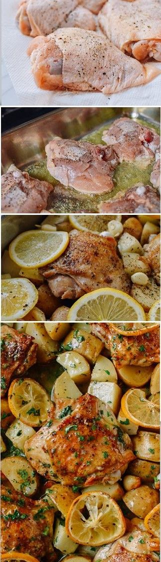 The very BEST Roasted Lemon Chicken Thighs with Potatoes recipe, SO EASY and SO TASTY!