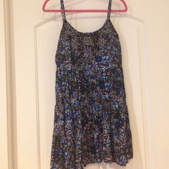 ‼️Price Firm‼️ Free People dress Free people black floral dress with beading. Excellent condition      / no trades, Free People Dresses Strapless